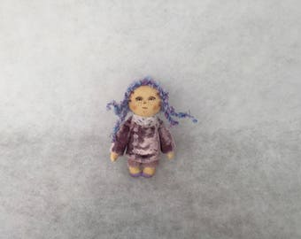 Primitive doll brooch,textile brooch,textile art,miniature doll brooch,cloth doll brooch