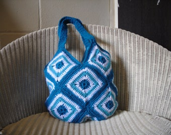 Crochet Bag, Blue Aqua and White Granny Square Handbag