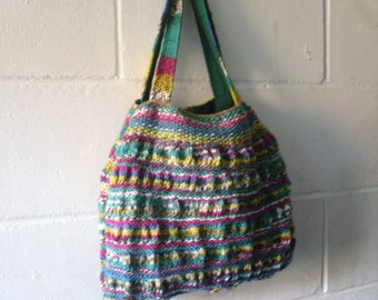 Hand Knitted Tote Bag, Multi Coloured Handbag