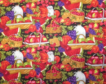 "Fruit in Baskets - 100% Cotton Fabric -   5 1/3 Yards - 42"" Wide"