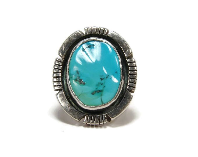Vintage Navajo Turquoise Sterling Silver Ring Size 6 Signed JA