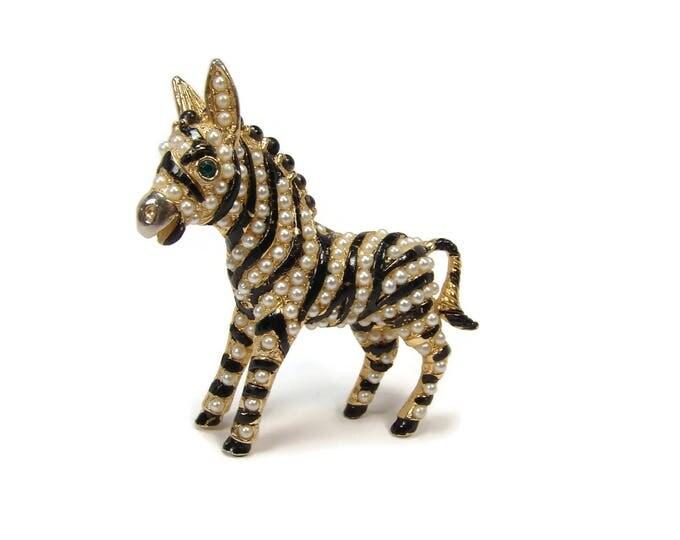 Vintage Pearl Black Enamel Zebra Brooch