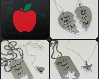 Back To School Mother Daughter Mother Son Matching Necklace Set Superhero or Hearts