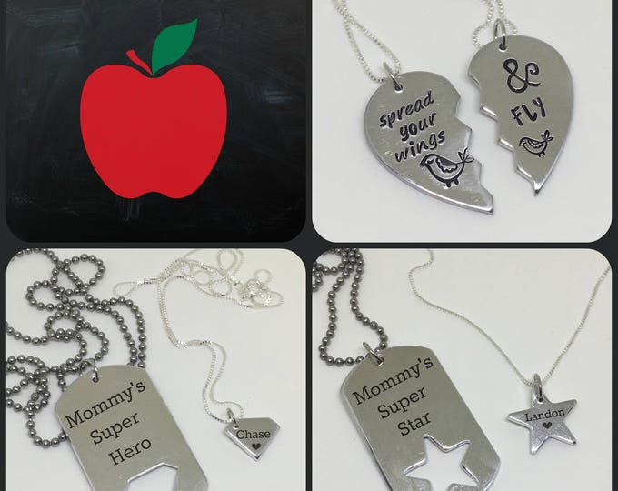 Back To School Mother Daughter Mother Son Necklace Set SALE
