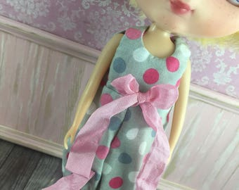 Blythe Romper - Pink and Grey Spot