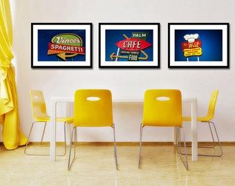 Set of Los Angeles Restaurant Sign Prints | Neon Sign Art | Retro Kitchen Wall Art | Diner Decor | Save 10-20% on Three Fine Art Photographs
