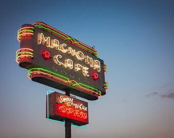 Austin Texas Neon Sign Print   Magnolia Cafe Neon Sign Art  Austin TX   Retro Kitchen Decor   Kitchen Wall Art   Austin Texas Wall Art