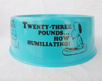 "Vintage Peanuts SNOOPY Blue Plastic Suppertime Dog Dish - Popcorn snacks 10"" Cereal Bowl"