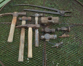 Large lot of 10 Blacksmith's hammers and one set of tongs from forge clearance, lot5