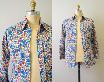 1970s Lee Floral Print Western Shirt