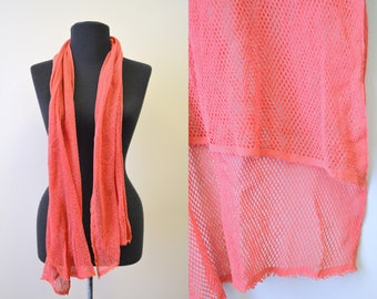 1960s Coral Red Cotton Mesh Knit Scarf