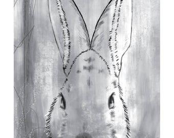 5x7 Nursery Print - Bunny, Grey