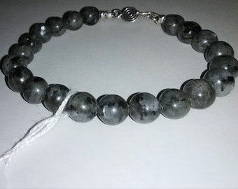 Larvikite Sterling Silver Gemstone Bracelet 7.75 inches long