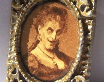 Dollhouse Miniature Victorian Art WITCH Halloween Spooky Picture Haunted Doll House