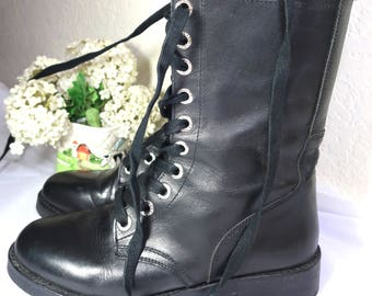 Vintage CC Black Leather Military Style Laced Boots Italy sz 37 7 OBO