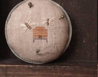 Primitive cross stitch Bee Skep zinc jar lid pinkeep folk art handmade
