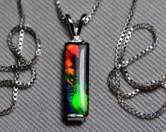 """Ammolite Necklace, Ammolite Bar Pendant 15x5mm In Rosewood Gift Box With 18"""" Necklace, Sterling Silver, Hand Made Ammolite Jewelry"""
