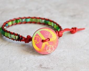 green peace sign leather wrap bracelet, peace jewelry, hippie jewelry, boho jewelry, unique gift, festival jewelry, beaded bracelet