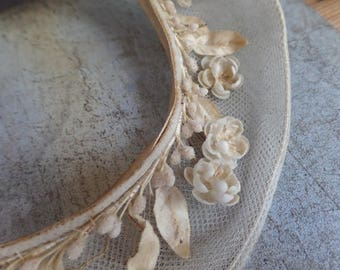 Old French wax flowers and blossoms wedding collar