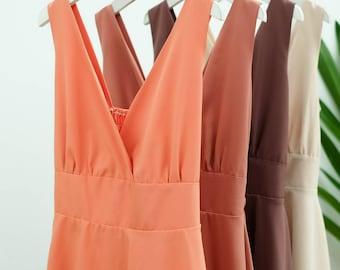 SALE Dusty orange dress brown dress beige dress orange party dress brown sundress beige bridesmaid dress summer dress tea dress
