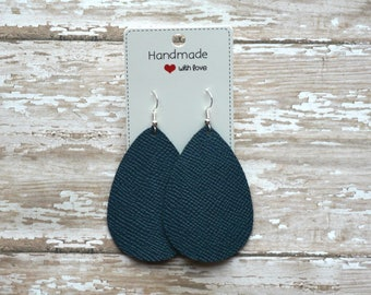 Dark Teal Blue Saffiano Leather Teardrop Drop Earrings
