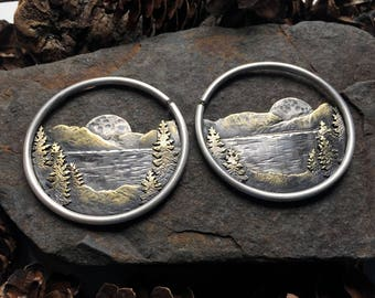 Lake Of The Woods Ritual Remains 10g Hoops Mountain Jewelry Ear Weights Mountain Ring Witchy Jewelry Full Moon Landscape Mountain Range Plug
