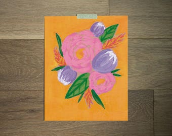 Watercolor flower art print - 8 x 10 - pink and purple florals - pink and gold