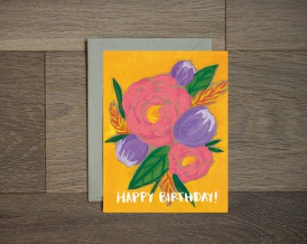 Flower Birthday card - floral art- illustration - pink and gold- hand lettering