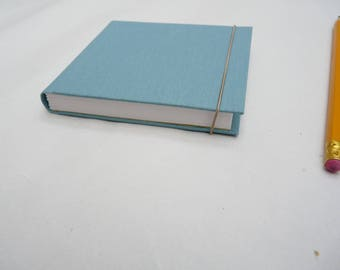 Small notebook, little journal, book cloth, full cloth, blue, grey, turquoise, teal, elastic