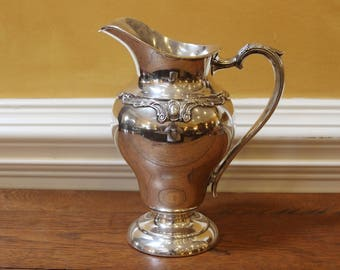 Vintage Silver Plated Large Jug. Wilcox International Silver. Rochelle Pattern. C. 1950.