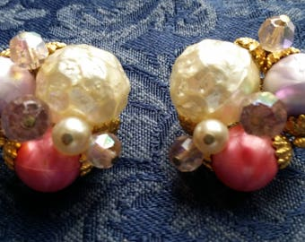 GORGEOUS Clip Bead Cluster Earrings w/ Faux Pearls & AB Crystals  VINTAGE