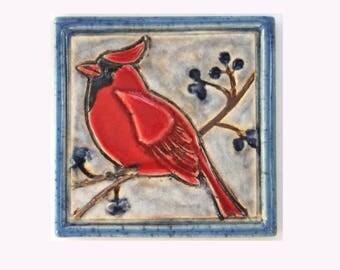 Northern Cardinal Arts and Crafts Decorative Handmade 4x4 Ceramic Tile