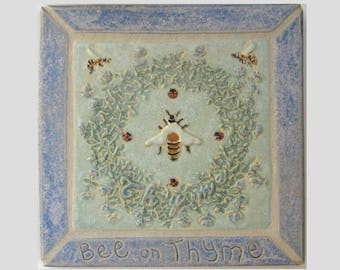 Bee on Thyme Arts and Crafts Framed Decorative Handmade MUD Pi Ceramic Tile