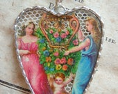 Fiona & The Fig - Victorian - RARE - Die Cut Scrap- Beautiful Goddesses-Cupid-Flowers - Soldered Charm - Necklace - Pendant-Jewelry