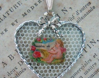 """Fiona & The Fig -  Antique Victorian Die Cut Scrap - Cupid """"Remember Me"""" - Charm - Necklace - Pendant - Jewelry"""