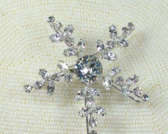 25% Off Vintage Huge Snowflake Signed Weissco, Clear Rhinestone Snowflake Brooch Pin 1930's