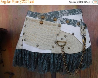 "20%OFF Burning Man,,bohemian tribal croc print fringed leather belt..34"" to 42"" waist or hips.."