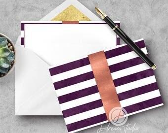A2 Flat Notecard Set - Plum Stripe