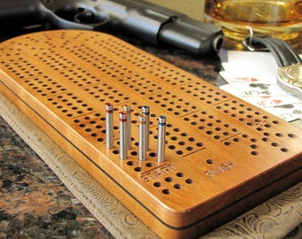 Cribbage Board Personalized-Exquisite Black Cherry with Stainless Steel Cribbage Pegs, Father's Day Gift
