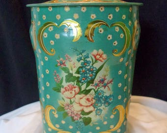 Antique Murray Allen Regal Crown Tea Biscuit Storage Canister Tin Blue Flower England 1950's
