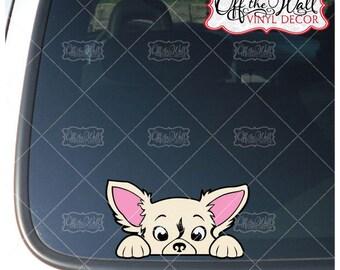 Peek-A-Boo Long Hair Chihuahua Vinyl Decal Sticker