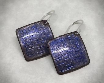 Opalescent blue enamel square earrings
