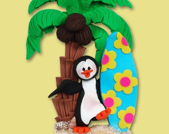 PETEY PENGUIN w/ Surfboard Personalized Vacation Ornament Handmade Polymer Clay - Limited Edition