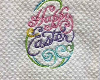 Happy Easter embroidered kitchen hand towel - kitchen hand towel - house warming gift - Easter gift - made to order