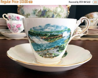 ON SALE Regency Bone China Tea Cup Teacup and Saucer - Niagara Falls Souvenir 13801