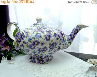 ON SALE Gorgeous Vintage Arthur Wood Pansy Chintz Teapot Tea Pot