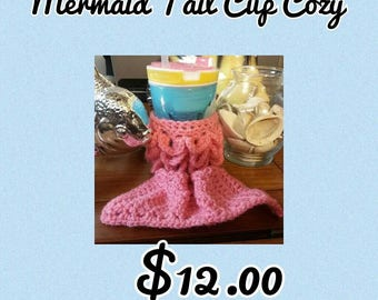 Pink Mermad Tail Crochet Cup Cozy