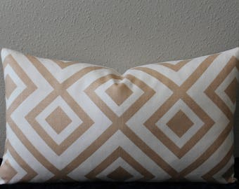 "David Hicks for Lee Jofa - Groundworks - 12"" x 20"" La Fiorentina Camel and Ivory Geometric Print Designer Decorative Lumbar Pillow Cover"