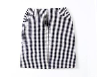 vintage Bill Blass pencil skirt, black gingham checker wiggle skirt