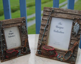 Two Vintage Fishing picture frames The Uniqe Collection Embossed resin photo frames fishing rod reel creel net dip fisherman father trout